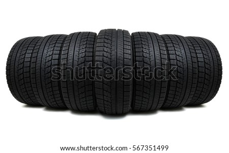 Car tires isolated on white #567351499
