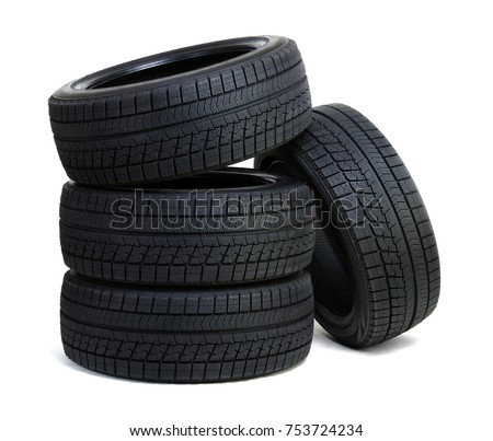 Car tires isolated on white ストックフォト ©