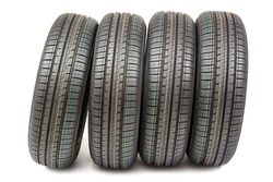 Car tires isolated on white background.