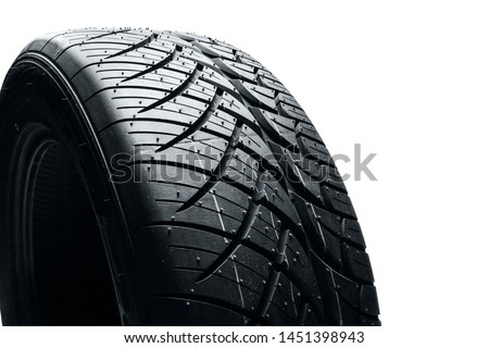 Car tires isolated on white background. Summer car tires