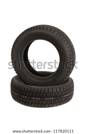 car tires on white background, cut out
