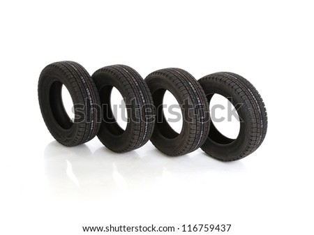 car tires on white background with clipping path