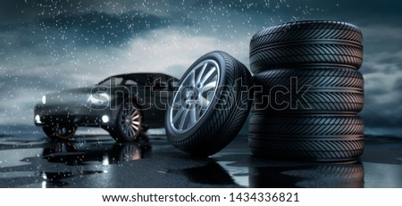 Car tires standing on a road - heavy weather - 3D illustration