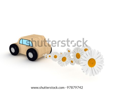 Car toy on white background with daisy.