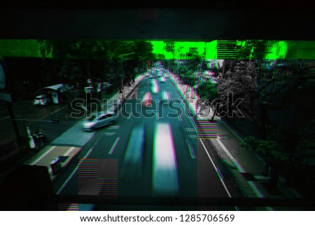 Car traffic on a road, long exposure photo, glitch effect. #1285706569