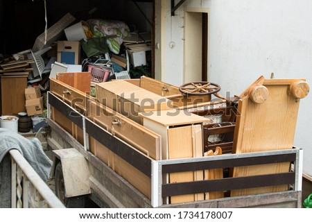 car trailers with furniture for disposal Сток-фото ©