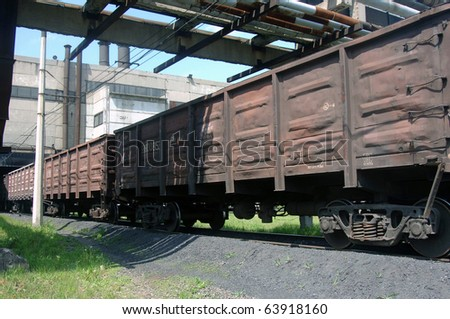 car transport train on the rails of the railway