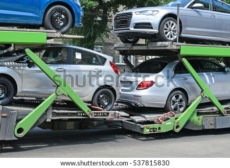 Car transporter trailer on the road #537815830