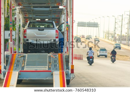 Car transporter trailer on the road,copy space.