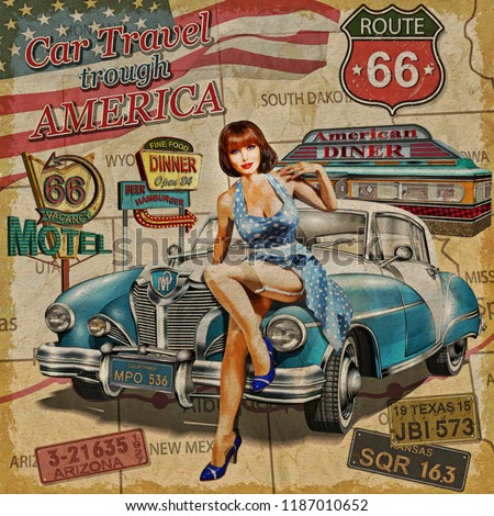 Car travel through America vintage poster.