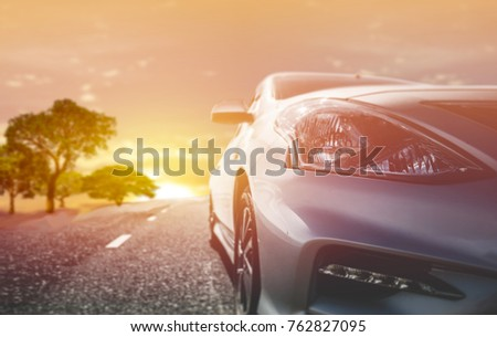 Car traveling in nature on an asphalt road - Front view #762827095