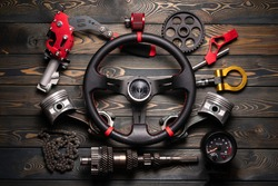 Car tuning flat lay concept background. Sport car accessory.