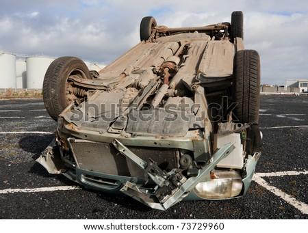 car turned upside down after road collision stock photo 73729960 shutterstock. Black Bedroom Furniture Sets. Home Design Ideas