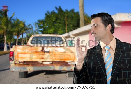 car used salesperson selling old car as brand new truck salesman typical topic ok gesture [Photo Illustration]