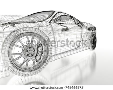 Car vehicle 3d blueprint mesh model on a white background. 3d rendered image