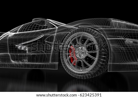 Car vehicle 3d blueprint mesh model with a red wheel tire on a black car vehicle 3d blueprint mesh model with a red wheel tire on a black background 3d rendered image ez canvas malvernweather Gallery