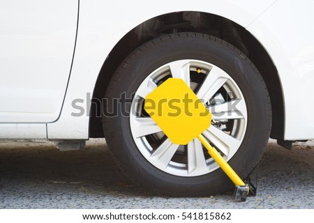 Car was locked with clamped vehicle, wheel lock. Parking on forbidden place.