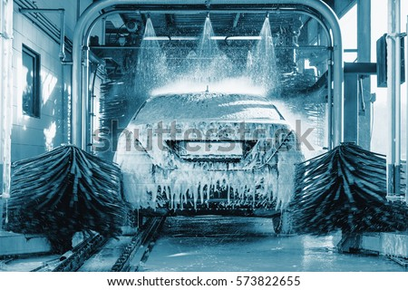 car wash, Automatic car wash in action, blue colored, Car concept. Wash car. Technology.  #573822655