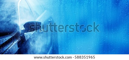 Car Wash Banner Background Concept. Car Washing and Cleaning Backdrop with Copy Space. #588351965