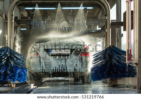 car wash, car wash foam water, Automatic car wash in action #531219766