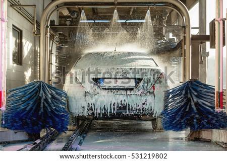 car wash, car wash foam water, Automatic car wash in action #531219802