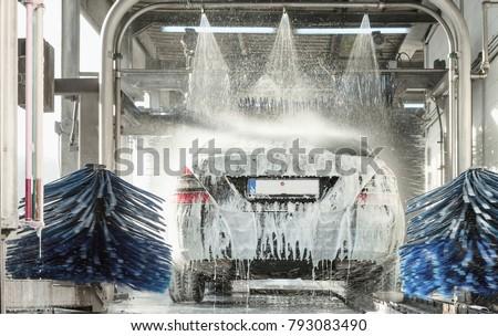 car wash, car wash foam water, Automatic car wash in action #793083490