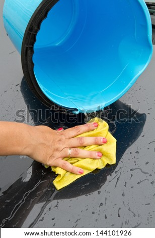 car wash with cloth and bucket