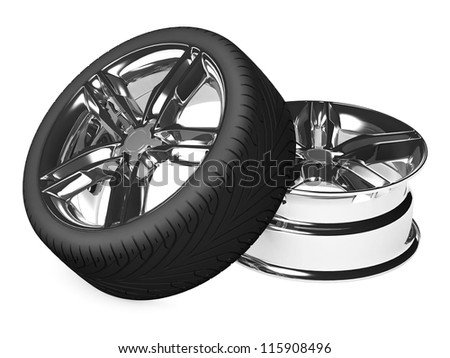 Car Wheel and  rim isolated on white. 3d illustration.