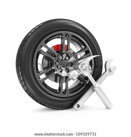 Car Wheel and Tools isolated on white background. Car Service Concept