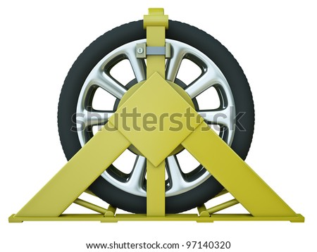 Car wheel clamp – punishment for illegal parking. 3D rendered image.