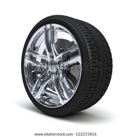 Car Wheel. Concept design. 3D render.