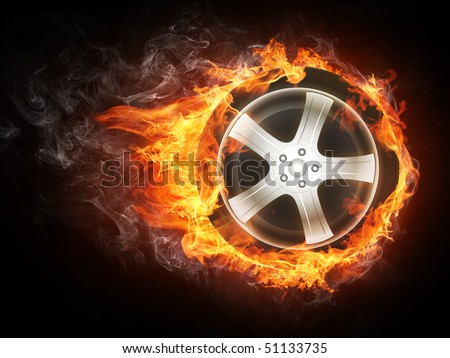 Wheel covered in fire