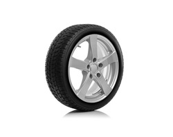 Car wheel is isolated on a white background.