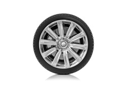 Car wheel isolated on a white background.