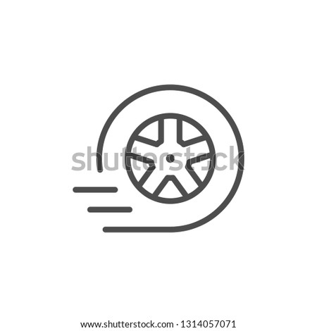 Car wheel line icon isolated on white
