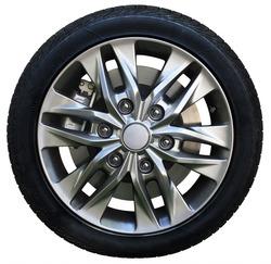 Car wheel on white background, tires car wheel