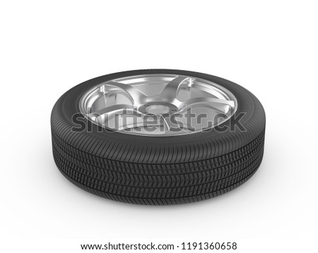 Car wheel tire on a white background. 3d illustration. #1191360658