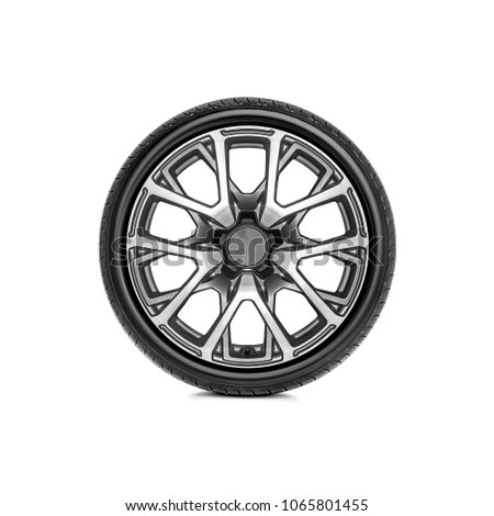 Car wheel with alloy wheel on a white background. #1065801455