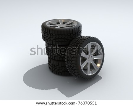Car wheels and tires isolated on white background