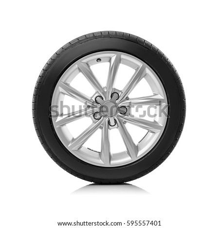 Car wheels isolated on a white background. #595557401