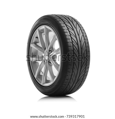 Photo of  Car wheels isolated on a white background.