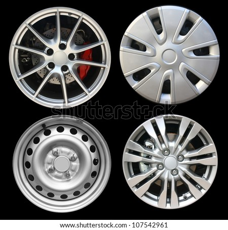 Car wheels, isolated on black background (Save Paths for design work)