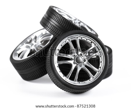Car wheels on white background.