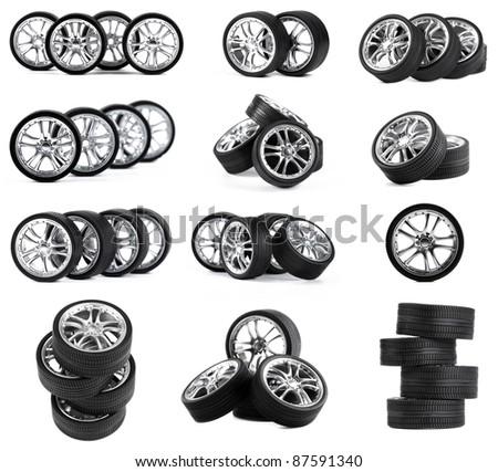 Car wheels on white background. Set.