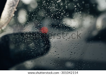 Car window raindrop, vintage colour effect. #301042154