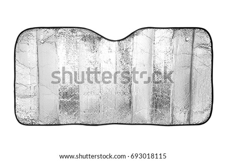 Car windshield sunshade isolated on white background