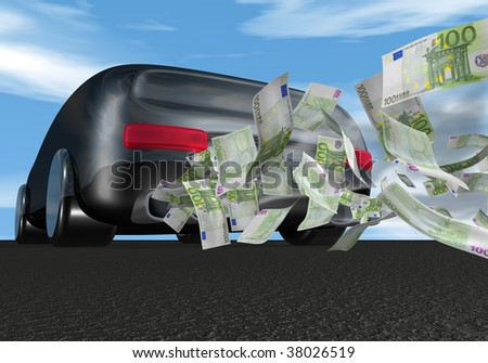 car with euro bills coming out of the exhaust