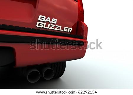 """Car with """"Gas Guzzler"""" emblem"""