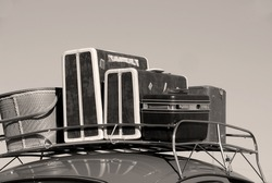 Car with luggage rack for travel