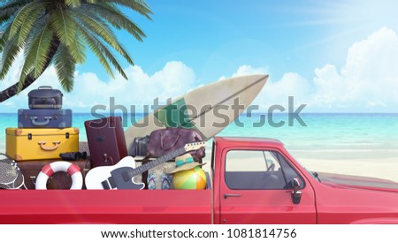 car with luggage ready for...